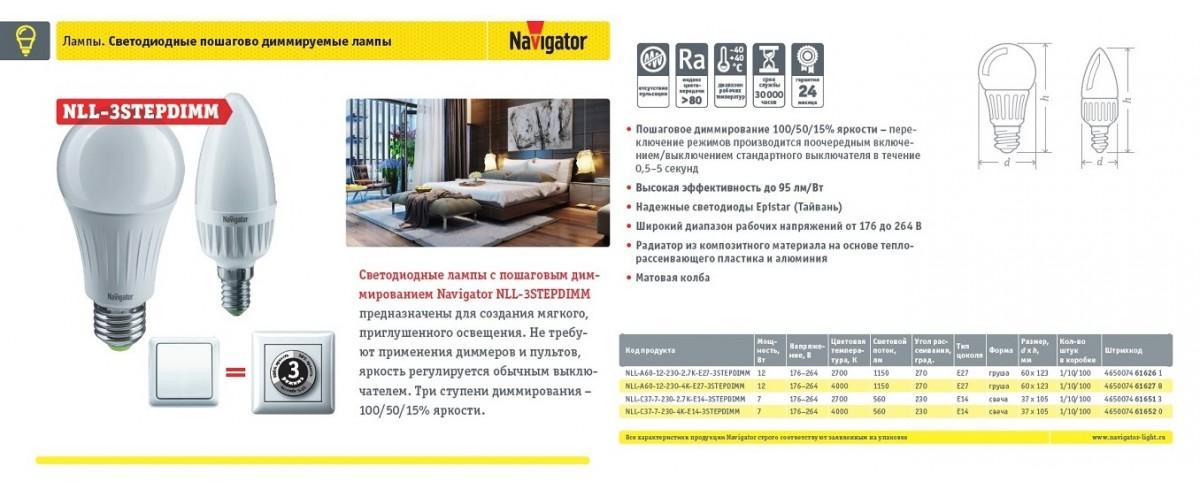 Navigator.Светодиодные энергосебегающие лампы (NLL-3COLOR)
