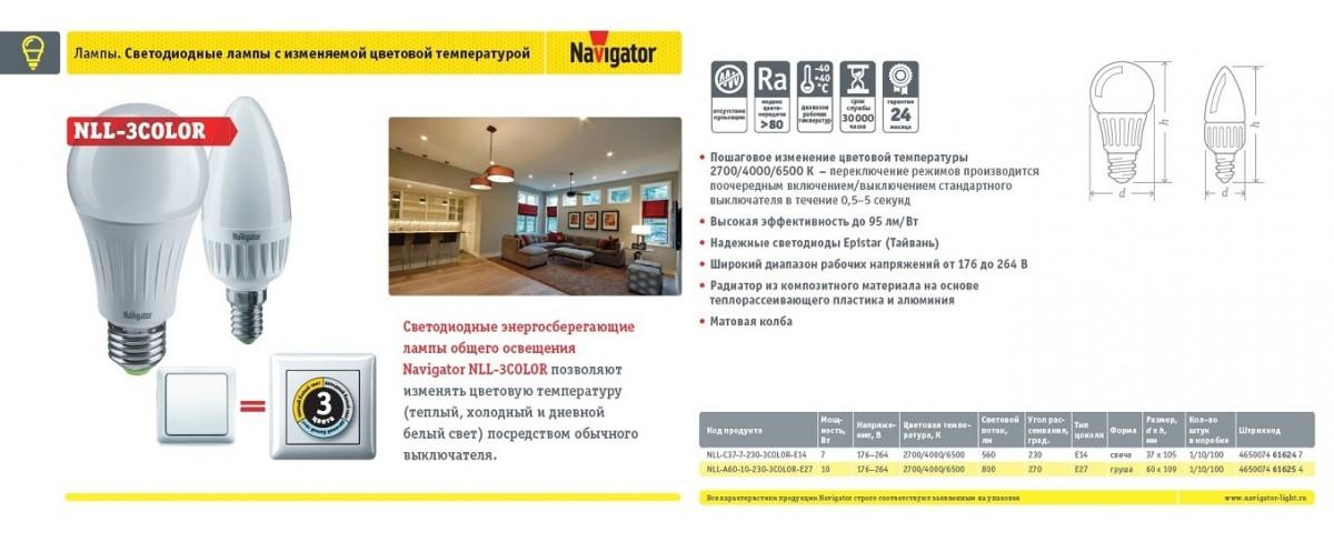 Navigator.Светодиодные энергосебегающие лампы (NLL-3STEPDIMM)